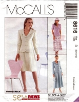 McCalls 8616 Semi-fitted Jacket & Gored Skirt Sewing Pattern 8-12 B31-34 Used