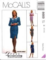 McCalls 8669 Princess Seam Dress, Jacket & Skirt Sewing Pattern 8-12 B31-34 Uncut