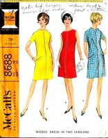 McCalls 8688 60s Mod Front Zip Dress Sewing Pattern 12 B34 Used