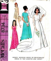 McCalls 8734 Vintage 60s Wedding Dress, Evening Gown Sewing Pattern 10 B31 Used