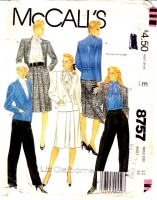 McCalls 8757 Double Breasted Jacket, Straight Skirt, Pants Suit Sewing Pattern 12 B34 Uncut