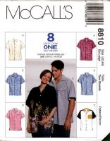McCalls 8810 Unisex Button Front, Short Sleeve Shirt Sewing Pattern XL 42-44 Uncut