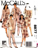 McCalls 8877 80s Semi-Fitted Jacket, Pullover Blouse, Gathered Skirt & Pants Suit Sewing Pattern 16 B38 Uncut