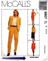 McCalls 8907 Business Wear, Jacket, Sleeveless Dress, Flared Skirt & Pants Sewing Pattern 8-12 B31-34 Uncut