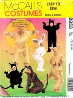 McCalls 8953 Kids Animal, Bunny, Cat, Bear, Lion, Roo Costume Sewing Pattern 3-5 Uncut