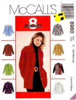 McCalls 8960 Button Front Shirt Sewing Pattern S-L B32-40 Uncut