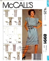 McCalls 8991 80s Blouson Dress, Top & Skirt Sewing Pattern 12 B34 Used