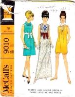 McCalls 9010 60s Evening Length Dress, Knee Length Dress & Pants Sewing Pattern 14 B34 Used