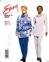 McCalls 9055 Turtle Neck Tunic Top & Pull-on Pants Sewing Pattern 16-22 B40-44 Uncut