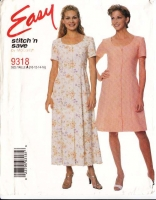 McCalls 9318 Fit & Flare Dress Sewing Pattern 10-16 B32-38 Uncut