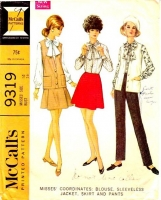 McCalls 9319 60s Bow Blouse, Sleeveless Jacket, Short Flared Skirt & Pants Sewing Pattern 14 B36 Used