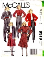 McCalls 9319 Boxy Jacket, Blouse, Skirt & Pleated Pants Sewing Pattern 12 B34 Used
