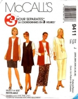 McCalls 9411 Plus Size Vest, Tunic, Pull-on Skirt Sewing Pattern 26W-30W B44-48 Uncut
