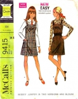 McCalls 9415 60s Jumper Dress & Blouse Sewing Pattern 14 B36 Used