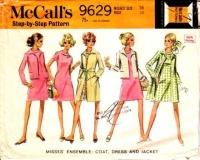 McCalls 9629 60s Ring Collar Dress, Boxy Jacket & Belted Coat Sewing Pattern 16 B38 Used