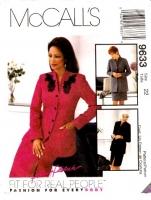 McCalls 9633 Hip Length Jacket & Straight Slit Skirt Sewing Pattern Plus Size 22 B44 Uncut