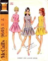 McCalls 9645 60s Kicky Drop Waist Dress Sewing Pattern 11 B33 Used