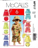 McCalls P217 Infant Top, Dress, Panties, Capri Pants Sewing Pattern S-XL Uncut