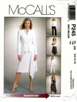 McCalls P245 Jacket, Top, Handkerchief Skirt & Tapered Pants Sewing Pattern 6-12 B30-34 Uncut