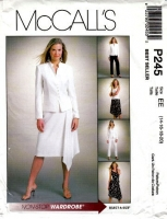 McCalls P245 Plus Size Jacket, Top, Handkerchief Skirt & Tapered Pants Sewing Pattern 14-20 B38-42 Uncut