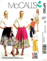 McCalls P382 Skirts, Shorts, Gaucho and Pants Sewing Pattern 14-20 W28-34 Uncut