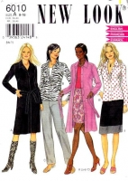 New Look 6010 Button Front Shirt, Coat Dress, Pull-on Pants & Straight Skirt Sewing Pattern 8-18 B31-40 Uncut