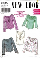 New Look 6015 V-Neck, Ruffle Front Top Sewing Pattern 8-18 B31-40 Uncut