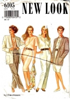 New Look 6105 Thigh Length Jacket, Dress, Blouse, & Pants Sewing Pattern 8-18 B31-40 Uncut