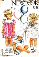 New Look 6338 Infant Long or Short Sleeve Dress or Romper Sewing Pattern 3-18 months Used
