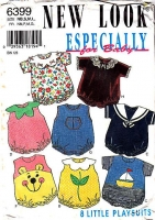 New Look 6399 Romper, Onesie, Bear, Flower, Sailor Sewing Pattern Newborn Used