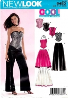 New Look 6480 Steampunk CosPlay Corset, Bustier, Flared Skirt & Palazzo Pants Sewing Pattern Junior 3/4-13/14 B28-35 Uncut