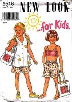 New Look 6516 Beachwear Crop Top, Shorts & Cover-up Sewing Pattern Girls 3-8 Uncut