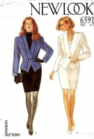New Look 6591 Nip Waist Jacket & Straight Skirt, Power Suit Sewing Pattern 8-18 B31-40 Uncut