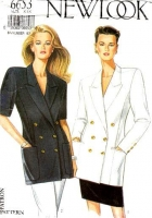 New Look 6653 Boxy, Double Breasted, Thigh Length Blazer, Jacket Sewing Pattern 8-18 B31-40 Uncut