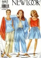 New Look 6665 Big Shirt Jacket, Tank Top, Drawstring Pants, & Wide Leg Shorts Sewing Pattern 8-18 B31-40 Uncut