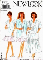 New Look 6712 Short Sleeve Jacket, V-Neck Top & Full Skirt Sewing Pattern 8-18 B31-40 Uncut