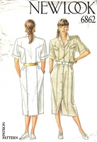 New Look 6862 Button Front, Military Inspired Dress Sewing Pattern 8-18 B31-40 Uncut