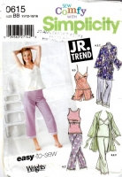 Simplicity 0615 Sleep Shirt, Pajama Pants, Shorts & Robe Sewing Pattern Juniors 11-15 B33-36 Uncut