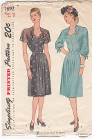 Simplicity 1692 40s Sweetheart Neckline, Shirtwaist Dress  Sewing Pattern B36