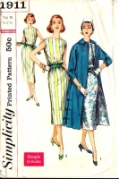 Simplicity 1911 50s Simple Slim, Bateau Neck Dress & Jacket Sewing Pattern 16 B36 Used