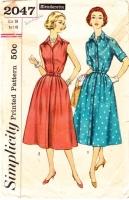 Simplicity 2047 50s Sleeveless Shirtwaist Dress Sewing Pattern 20 B40 Used