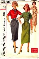 Simplicity 2139 50s Kimono Sleeve, Wiggle Dress Sewing Pattern 12 B32 Uncut