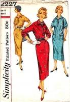Simplicity 2227 50s Kimono Sleeve, Shift Dress Sewing Pattern 12 B32 Uncut