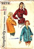 Simplicity 2273 50s Suburbanite 49er, Casual Jacket Sewing Pattern 12 B32 Uncut