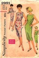 Simplicity 2991 50s Slim, Sleeveless Dress Sewing Pattern 18 B38 Used