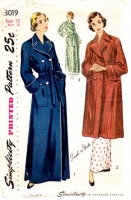 Simplicity 3019 40s Short or Long Robe Sewing Pattern 12 B30 Uncut