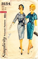 Simplicity 3154 50s Wide Collar Wiggle Dress Sewing Pattern 18 B38 Used