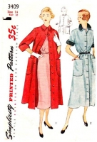 Simplicity 3409 50s Coat Dress & Duster Sewing Pattern 14 B32 Used