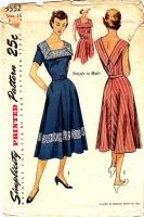 Simplicity 3552 Square Neck, Deep V Back Sundress, Dress Sewing Pattern 16 B34 Used