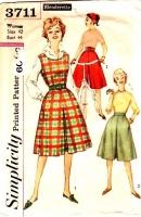 Simplicity 3711 60s Slenderette Divided Skirt, Jumper Dress Sewing Pattern 42 B44 Used
